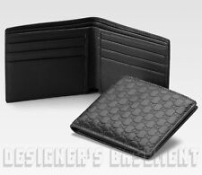 966bb18c474 GUCCI Mens black Leather MICRO GUCCISSIMA GG embossed Bifold wallet NIB  Authentc