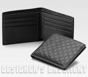 303c7cae5b65 Image is loading GUCCI-Mens-black-Leather-MICRO-GUCCISSIMA-GG-embossed-