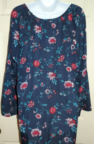 New Womens 3X 22W-24W Blue Lace Up Floral Blouse Long Flounce Sleeves