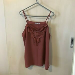 Ally-Mushroom-coloured-Camisole-top-Size-12-Womens