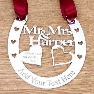 Personalised Wedding Good Luck Gifts : Personalised-Wedding-Bridal-Mr-amp-Mrs-Good-Luck-Horseshoe-Gift-and ...