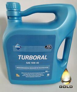 15W-40-ARAL-Turboral-5-Liter-Motorenoel-XMF-Technologie-LKW-oel-Nutzfahrzeugeoel