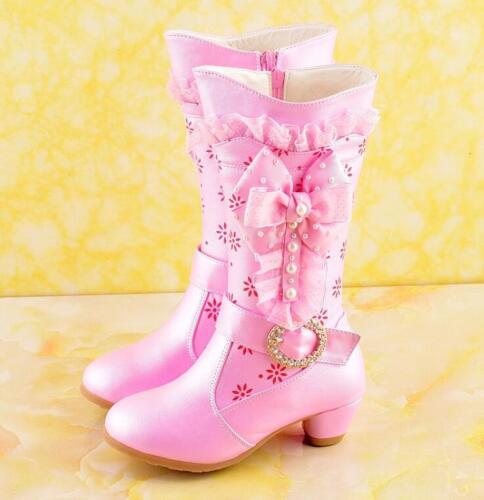 Girls Kids Pearls Side Zip Knight Knee High Boots Princess Sweet Lolita Shoes SZ