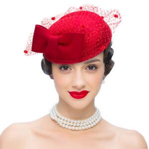 Women Wool Felt Fascinator Wool Formal Race Day Cocktail Hat Wedding ... 4dc352e5ce9