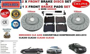 FOR MERCEDES CLK200 CLK280 CLK320 CLK FRONT BRAKE DISCS SET + PADS KIT + SENSOR