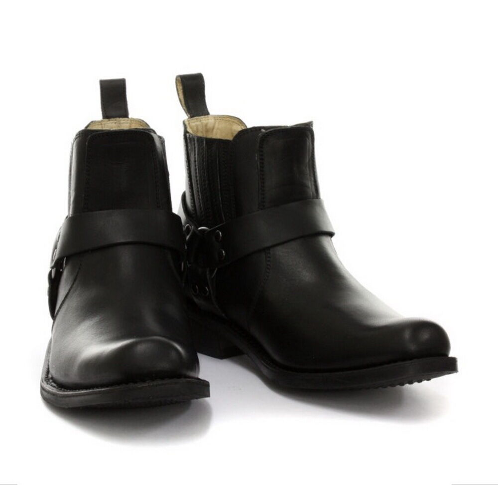 Grinders Low Harness Negro Unisex Leather botas Cowboy Western Western Western Bikers botas 5e3ca8