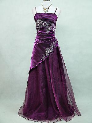 Cherlone Plus Size Satin Dark Purple Sparkle Gown Wedding/Evening Dress 18-20