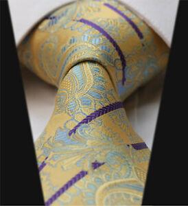 UK-Luxury-MultiColour-Tie-Yellow-Purple-Stripe-Blue-Floral-Paisley-Wedding-Silk