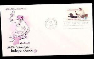 1977-FDC-Skilled-Hands-for-Independence-Blacksmith-Stamp-Unaddressed