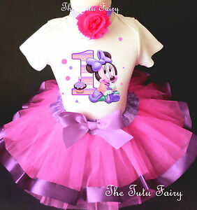 da5896857 Baby Minnie Mouse Pink Lavender Girl 1st First Birthday Tutu Outfit ...