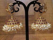 Indian Pakistani Bollywood Gold Plated Peacock Ruby Pink Pearl Jhumki Earring