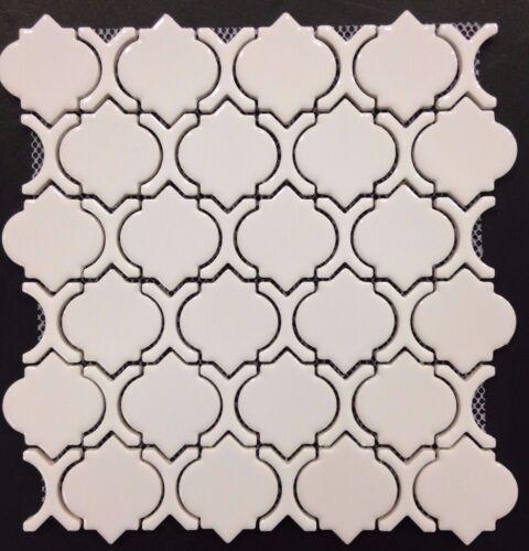 White Glossy Arabesque Moroccan Ceramic Mosaic Tile Wall and Floor Backsplash