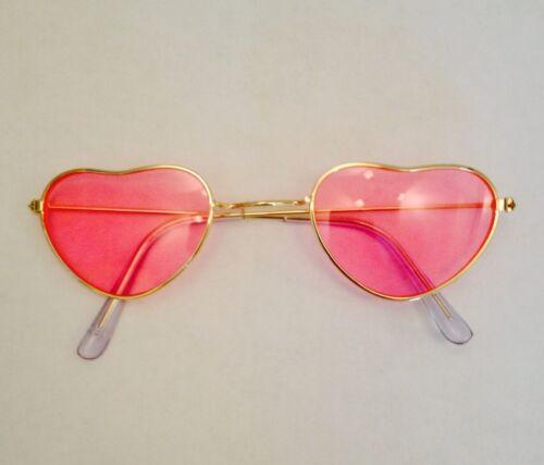 déguisement festival Nouveau rose lens gold frame hippie hippy love coeur lunettes