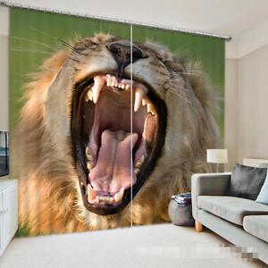 3D León Boca 7 Cortinas de impresión de cortina de foto Blockout Tela Cortinas Ventana CA