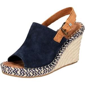 Toms-Womens-Monica-Navy-Suede-Slingback-Sandals-Wedges-10-Medium-B-M-BHFO-4848