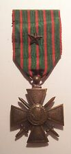 VINTAGE WW I French Croix de Guerre Medal War Cross Bronze STAR 14-18