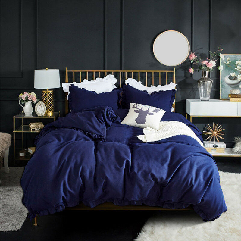 Ruffled Quilt Cover Bedding Set Duvet Covers with Pillow Case All Größes Blau New