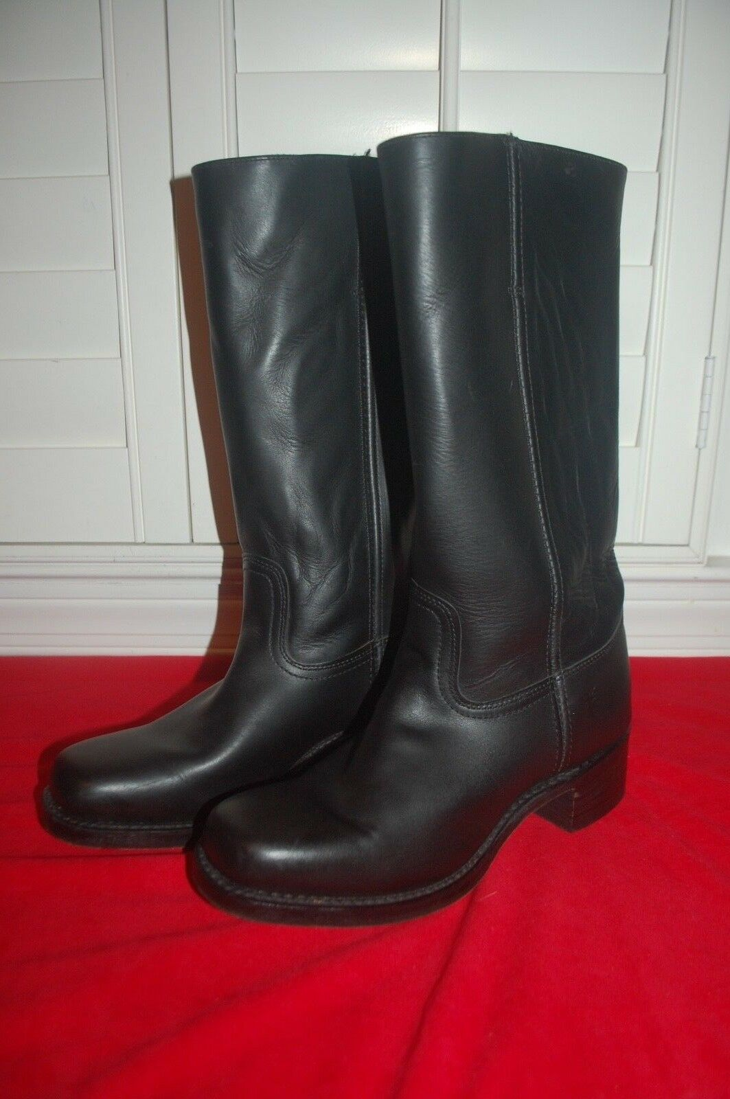 FRYE Campus 14L Black 77050-4 Leather Motorcycle Women's Boots 11 M Made in USA