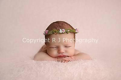Fatto A Mano Rosa Floreale Halo Corona Neonato Fotografia Foto Prop Flower Girl-