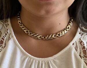 Beautiful-Vtg-Monet-Signed-Link-Chain-Silver-Tone-Elegant-Necklace-Choker-16