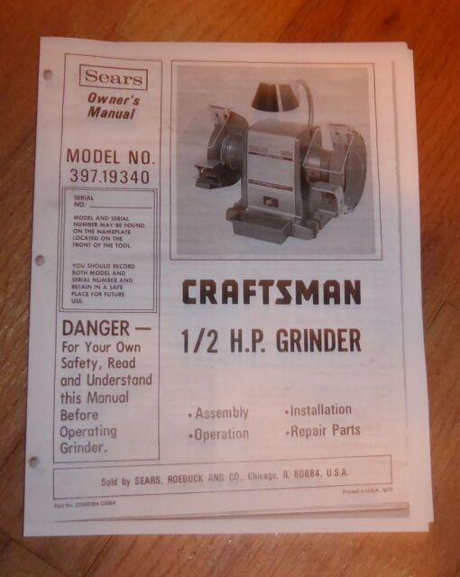 Sears Craftsman 1  2 Hp Grinder Owners Manual 397 19340