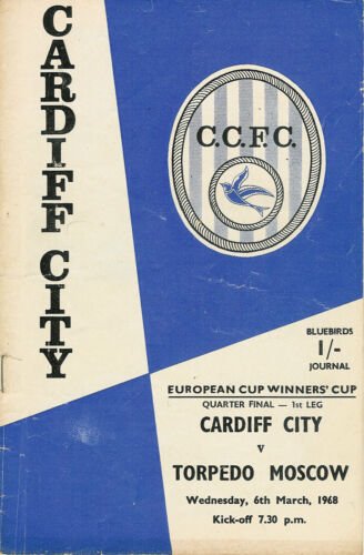 Cardiff City v Torpedo Moscow 6 Mar 1968 Football Programme ECWC Quarter Final