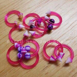 18g-Hypoallergenic-Acrylic-Horseshoe-8mm-Ring-Fuschia-Purple-some-UV