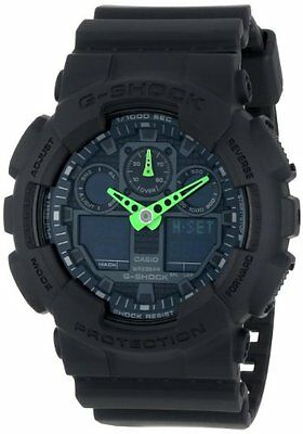 Casio G-Shock Mens Analog Digital Neon Military Black 200M Watch GA100C-1A3