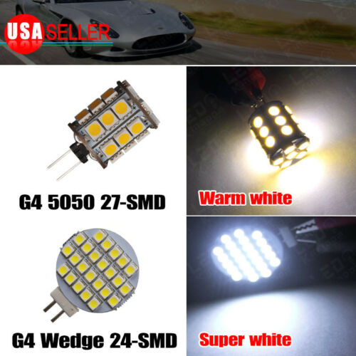 G4 5/24/27 5050/1206 SMD LED Pure/Warm White Cabinet Light Lamp Bulb AC/DC 12V