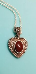 924-burgundy-Heart-Pendant-Sterling-silver-necklace-Kohl-039-s-brand-new-in-box