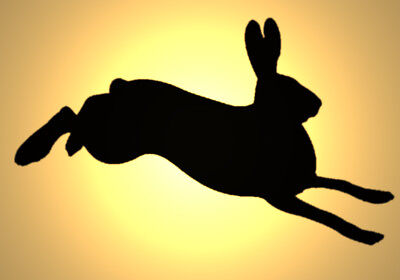 Shabby Chic plastic Stencil Hare bunny jumping design 3 Rabbit A4 297x210mm wall