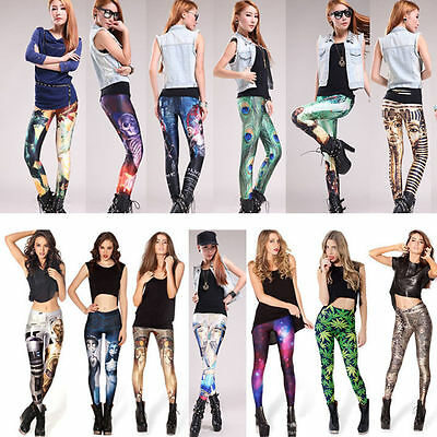 Women Galaxy Space Leggings Printed Cosmic Pants Tie Dye Stretch Skinny Trousers