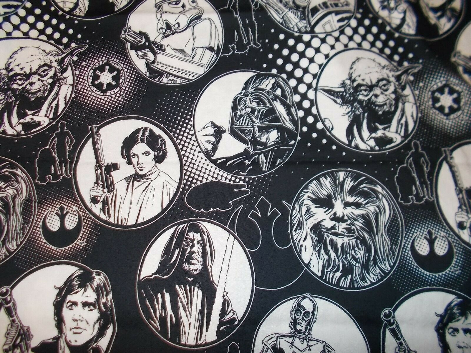 Star Wars Fabric Black White Quarter Single For Sale Online Ebay