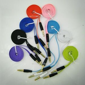 details about 3 5 mm male to male 1 meter long flat noodle audio aux cable  cord 8 colors