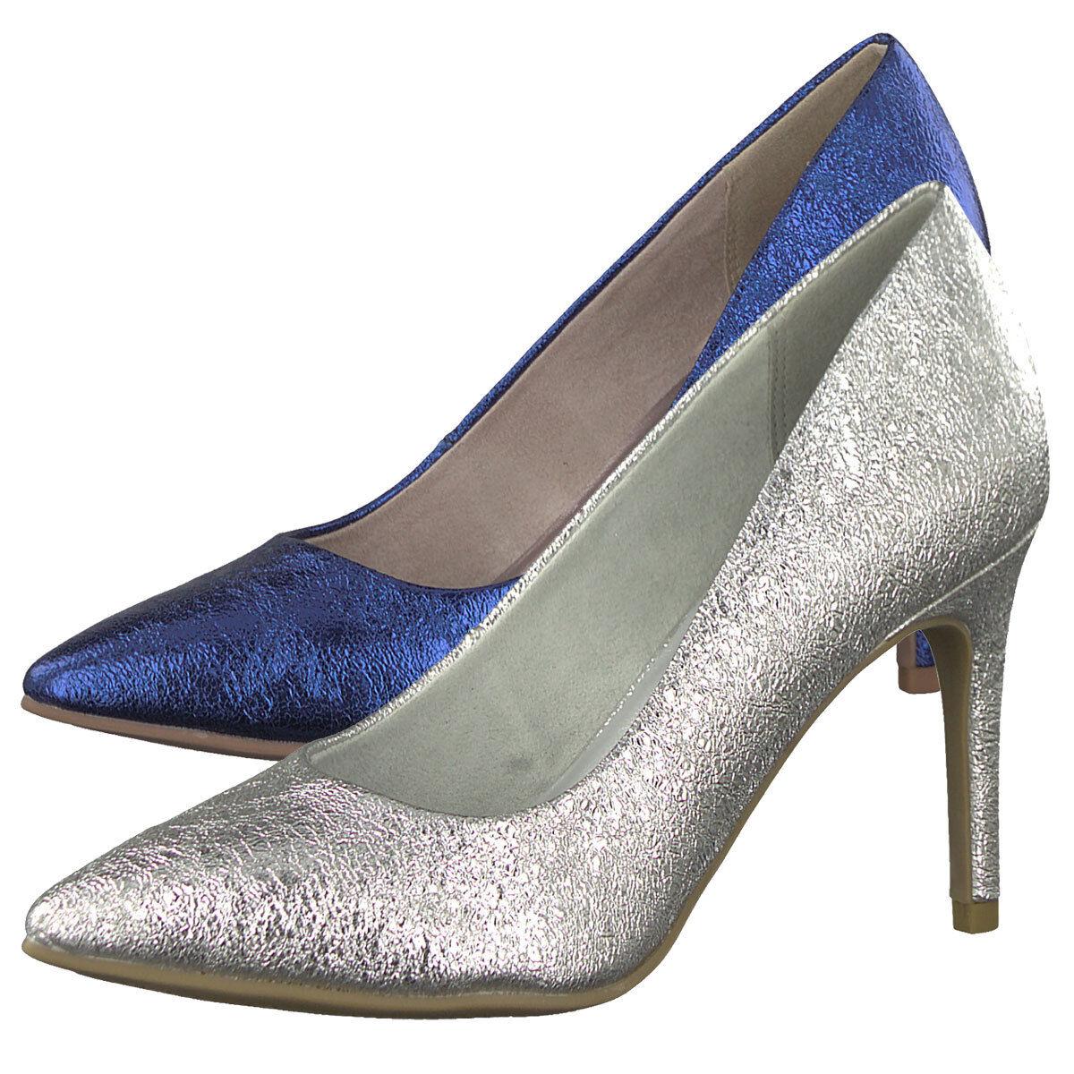 Tamaris Pumps 1-22427-20 Metallic High Heels Cracked-Optik