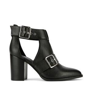 Holie Black Leather Buckle Boot Heel