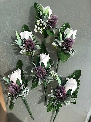 Rose and thistle silk wedding buttonhole  boutonniere.