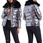 New Womens Faux Fur Collared Glossy Shiny Warm Metallic Look Puffa Jacket Coat