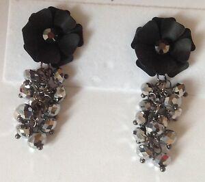 Boucles D'oreilles Bijou Rétro Fleur Couleur Noir Pampille Perle Argentée 262 Cool En éTé Et Chaud En Hiver