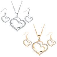 Earrings Wedding Women Jewelry Sets Fashion Necklace Set Bridal Hearts Crystal