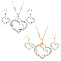 Earrings Wedding Women Jewelry Sets Fashion Necklace Set Bridal Hearts Crystal