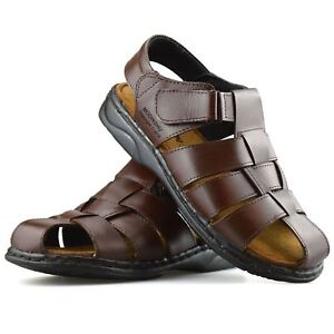 bf6c601d454 Image is loading Mens-Leather-Walking-Touch-Strap-Summer-Beach-Mules-