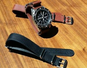 Marathon-22mm-leather-NATO-strap-band-Tan-Smooth-Aniline-Top-grade-NEW