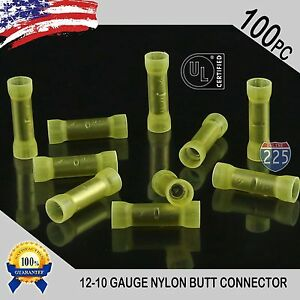 100 Pack 4 Gauge Wire Butt Connectors Yellow Nylon 4 AWG Crimping Terminals USA