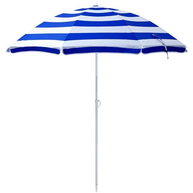 6ft Beach Umbrella Blue White Stripes Portable Carry Bag Sun Shade Patio Outdoor