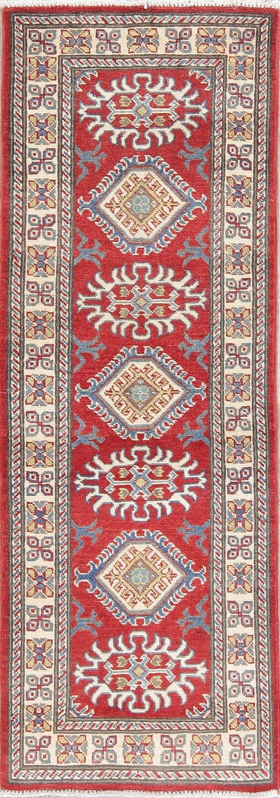 New 6 ft rot & IVORY Runner Kazak Oriental Oriental Oriental Rug Geometric Wool Carpet 2' x 6' 7c4be9