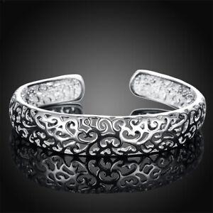 Women-039-s-Fashion-925-Silver-Bezel-Hollow-Cuff-Bangle-Open-Bracelet-Jewelry-Gift