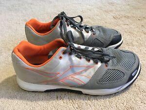 Guc Reebok Crossfit Low Drop Cross Training Wod Shoes Gray Orange Us