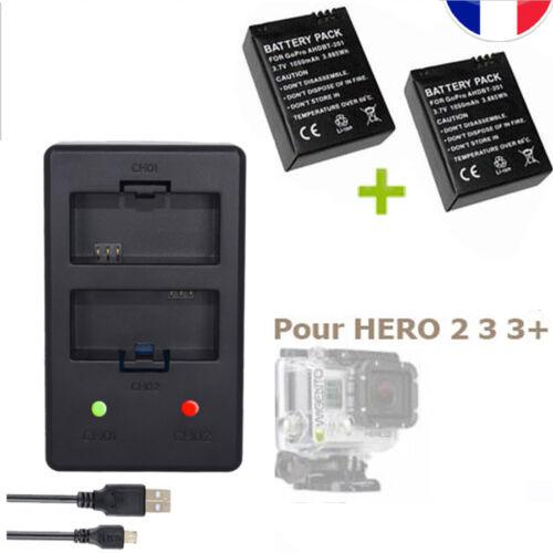 USB HD CHARGEUR Double 2 BATTERIES pour GOPRO HERO 3 et 3+ AHDBT-301