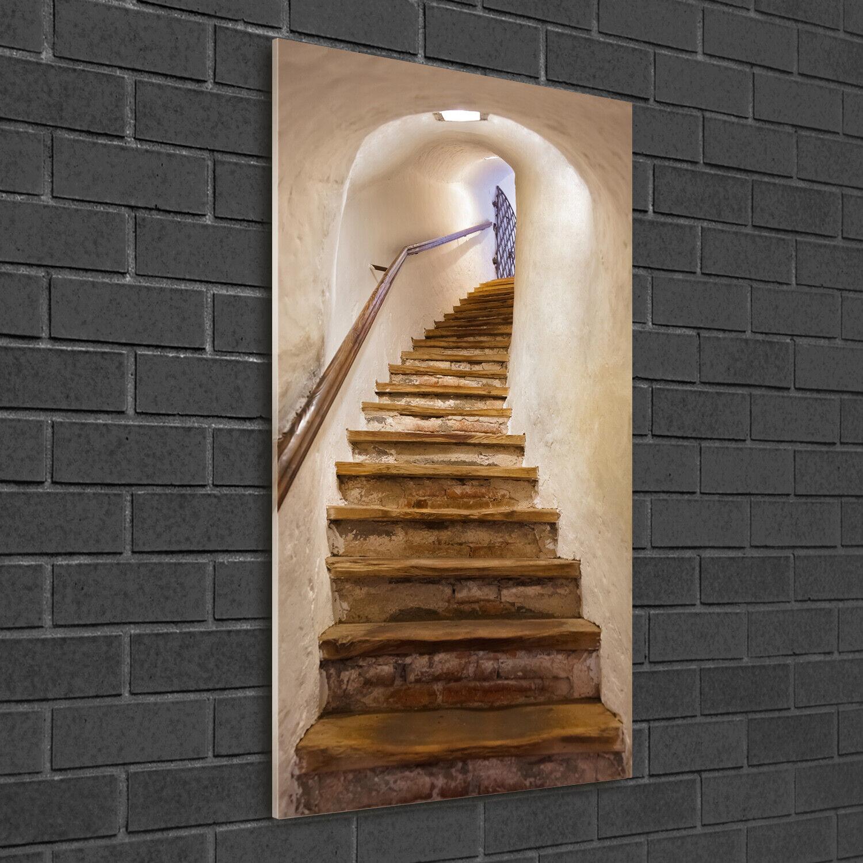 Wand-Bild Kunstdruck aus Hart-Glas Hochformat 50x100 Treppen im Schloss